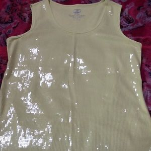 Chico's ladies sequin front tank pale lime, size 2